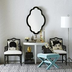 Black & White with a touch of mint.  * Interiors Interiors Interiors * The Inner Interiorista