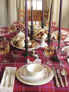 Tartan tablecloth thanksgiving tablescape~ I love the use of nontraditional fall colors.