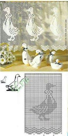 Rideaux au Crochet Fait Main (10) La mère l'oie