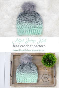 Mint Julep Hat - Free Crochet Pattern - The Stitchin Mommy Crochet Hat Sizing, Easy Crochet Hat, Crochet Beanie Pattern, Crochet Baby Hats, Crochet Gifts, Double Crochet, Free Crochet, Knit Crochet, Crochet Patterns