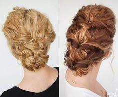 Penteados para noivas de cabelos cacheados - coques torcidinho