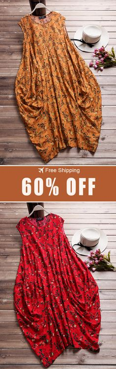 Women Floral Printed Baggy Pockets O-neck Dress. Boho Fashion, Autumn Fashion, Fashion Outfits, Womens Fashion, Fashion Ideas, Quoi Porter, Cool Style, My Style, African Dress