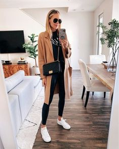 Shop Your Screenshots™ with LIKEtoKNOW. Nyc Fashion, Winter Fashion Outfits, Fall Outfits, Casual Outfits, Japan Fashion, Street Fashion, Leather Leggings Outfit, Camel Coat Outfit, Tribal Leggings