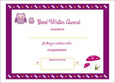 Printable Achievement Award Certificate  Daycare