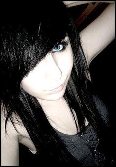 cute haircuts for teen girls with black hair | Funky Emo Bangs Haircut with Black Hair Color for Teenage Girl