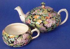 Teapot Tea For One Black Beauty Chintz Nelson Stacking 1930s Tea Pot