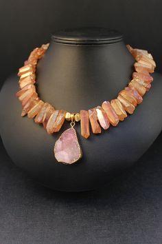 Mystic Apricot Pink Rock Crystal Quartz Necklace with by Vivant, $85.00