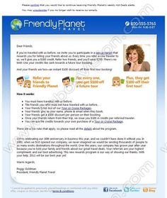 Company:    Friendly Planet Travel   Subject:    Refer a friend and get USD100 off your next tour             INBOXVISION is a global database and email gallery of 1.5 million B2C and B2B promotional emails and newsletter templates, providing email design ideas and email marketing intelligence www.inboxvision.com/blog  #EmailMarketing #DigitalMarketing #EmailDesign #EmailTemplate #InboxVision  #SocialMedia #EmailNewsletters