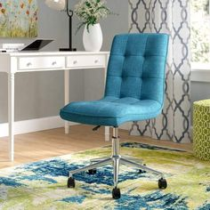 Andover Mills Geraghty Task Chair. A unique way to add a punch of color. Choose a colorful chair. #bluechair #deskchair #afflnk