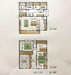 『32坪の間取り』 ・ 玄関横に収納をまとめました。 2階もファミリークローゼットに収納をまとめて各部屋は寝るためだけです。 吹抜けありのコンパクト住宅です。 ・ 32坪ばかりで…。 ・ #間取り#間 - atelierorb