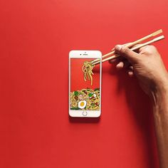 Anshuman Ghosh creates a quirky world using his iPhone. With seamless illusions, he transforms his device from a phone into a toaster, vase, and much more. Food Graphic Design, Food Design, App Design, Food Advertising, Creative Advertising, Iphone, Ads Creative, Social Media Design, Stop Motion
