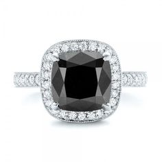 Custom Black Diamond Halo Engagement Ring #102814
