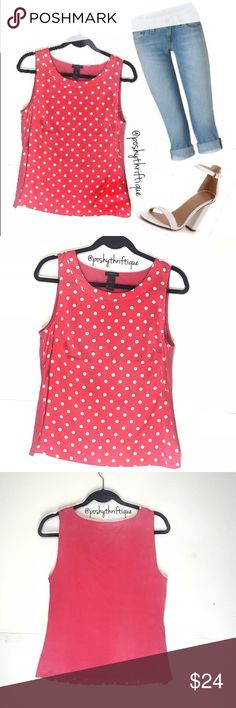 Ann Taylor Womens Pink Top White Polka Dot Med ALWAYS Open To Offers :)   SIZE: medium  STYLE: casual  BRAND: Ann taylor  MATERIAL: 97% polyester 3% spandex  COLOR: pink white  MEASUREMENTS:  Length :Approx  22 in  Underarm To Underarm : Approx 18 in  Bust : Approx 36  Sleeve : Approx  NA  CONDITION : Great Pre Loved Condition  COUNTRY OF MANUFACTURER : INDONESIA  SMOKE FREE & PET FREE ENVIRONMENT Ann Taylor Tops Blouses