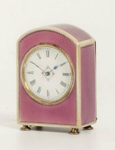 A Miniature French Silver Transparant Guilloche Enamel Timepiece, circa 1900 image 3 Sweet Sixteen, Decorative Objects, Cool Furniture, Pink And Gold, Vintage Shops, Hot Pink, Sculptures, Enamel, Miniatures