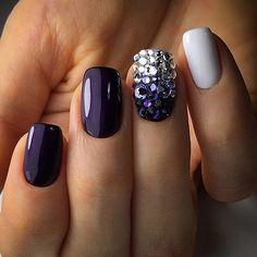 Purple blue white rhinestone nails