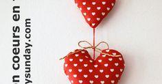 coeurs, tissus, rouge, Couture, DIY, Déco Maison, Free Sewing Pattern, Home sweet Home, How to, Les tutos FunkySunday, Noël, Patron de couture gratuit, SewinG, comment faire, décoration, faire soi-même