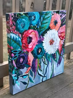 Excited to share this item from my shop: Abstract Floral Painting, original art, acrylic painting on canvas, commission art painting acrylics tutorials etsy Acrylic Painting Flowers, Acrylic Painting Canvas, Abstract Canvas, Diy Painting, Painting & Drawing, Floral Paintings, Paintings On Canvas, Paint Flowers, Knife Painting