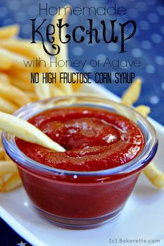 This quick and easy homemade ketchup recipe is made with honey or agave to make it diabetic and vegan-friendly.