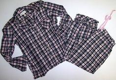 Victorias Secret L Large Flannel Plaid Print Pink Black Pajamas PJ Set Lounge #VictoriasSecret #PajamaSets