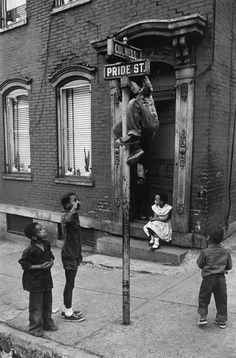 Children at Colwell and Pride Streets. Pittsburgh, 1955. Photo by W. Eugene Smith.