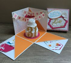 Joyeux Anniversaire Sophie – Scrap with Steph Birthday Card Pop Up, Happy Birthday Art, 40th Birthday Cards, Homemade Birthday Cards, Birthday Box, Cool Paper Crafts, Diy Crafts For Gifts, Birthday Explosion Box, Exploding Gift Box