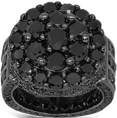 Wow this is opulent! I always wanted a pinky ring. This one would definitely do! Gold Black Rhodium Plated Mens Diamond Pinky Ring Ctw: Avianne & Co: Jewelry Mens Diamond Pinky Rings, Mens Pinky Ring, Black Diamond Jewelry, Black Rhodium, Silver Man, Mode Style, Colored Diamonds, Fashion Rings, Fashion Accessories
