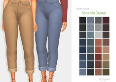 "ayoshi: "" I haven't made cc in while, sorry about that. These jeans are a re-texture, or a recolour, so you still need the mesh to use them. Also the jeans are named after a lovely bean. Enjoy! (⺣◡⺣)♡* • For them feminine frames only, sorry. • Comes..."