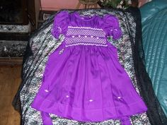 purple smocked flower girl with hand embroidery size 4 cutiepye creation 0427820744 cost is $95