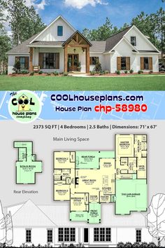 4 bedroom, bath modern farmhouse home plan with open design and large porches. Plan offers large walk-in pantry, large kitchen and luxurious master suite with an unbelievable master closet. Southern House Plans, Family House Plans, Best House Plans, Dream House Plans, Modern House Plans, Small House Plans, Four Bedroom House Plans, Bungalow House Plans, Cottage House Plans
