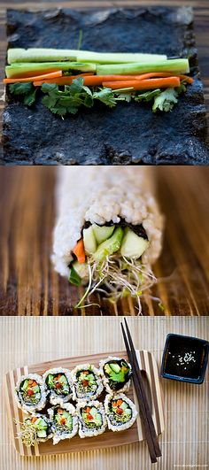 Whey Protein Matrix Gluten free vegan sushi roll - perfect for filling you up in a healthy and diet friendly way.Gluten free vegan sushi roll - perfect for filling you up in a healthy and diet friendly way. Vegan Sushi Rolls, Sushi Roll Recipes, Raw Food Recipes, Vegetarian Recipes, Cooking Recipes, Healthy Recipes, Easy Recipes, Vegan Gluten Free, Paleo