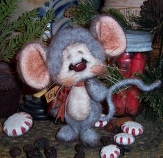 """Primitive Christmas Fuzzy Mouse Bear 5"""" Ornament Mini Doll ★ Vtg Patti's Ratties  For ordering information contact me at pattisratties3d@yahoo.com"""