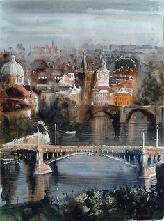 Sergiy Lysyy PRAGA Watercolor Paintings, Watercolors, Contemporary, Cityscapes, Pastel, Study, Canvas, Prague, Paintings