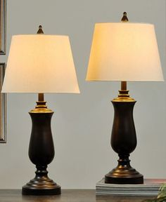 StyleCraft Set of 2 Dark Bronze Metal Table Lamps - Lighting & Lamps - For The Home - Macy's