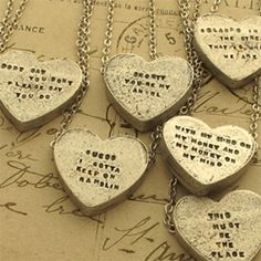 """Erica Weiner Sweetheart Necklaces ~ found from the 70s and waiting for the inscription of your choice. Choose your words wisely."" So rad. $65"