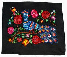 Vintage Hand Embroidered Black Hungarian Felt by TheMightyCat