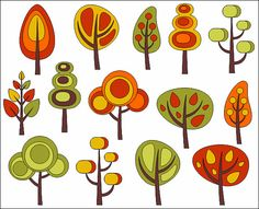 Items similar to Retro Trees Clip Art, Autumn Trees Digital Clip Art, Fall Clip Art – on Etsy Retro Trees Clip Art Autumn Trees Digital Clip Art by YarkoDesign Fall Clip Art, Tree Illustration, Mid Century Art, Retro Art, Autumn Trees, Tree Art, Fabric Painting, Doodle Art, Painted Rocks
