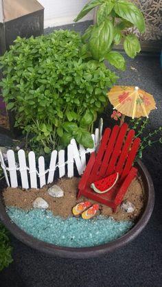 Beach  theme fairy garden  with herbs