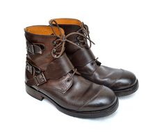 Dolce & Gabbana Men's Leather Laced Ankle Boots  #DolceGabbana #AnkleBoots