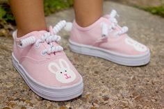 Bunny Shoes  Hop hop hand painted bunnies adorn these by Snanimals, $23.00