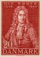 Ole romer. Denmark stamp. 300 year birth anniversary. The man who proved light travels at a finite speed by calculating the time between eclipses of Jupiter's moons. Stamp. Commemorative.