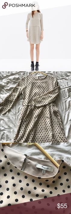 Polka dot silk madewell dress Worn once. Adorable silk cream and black polka dot madewell dress. Loose fit- great with heels for a dressier look or kept casual with sneakers. Madewell Dresses Mini