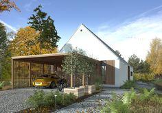 Odważny 2 - wizualizacja 2 - niewielka nowoczesna stodoła z wiatą