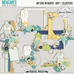 My Day in White Boy Clusters set of six clusters which can be used to embellish your scrapbook pages in style. These clusters coordinate with the My Day in White digital scrapbook collection by Meagan's Creations.