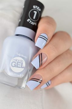Nagative space nail art - black striping tape - graphic nails - Sally Hansen Ozone You Didn't! Tape Nail Designs, Manicure Nail Designs, Nail Art Designs Videos, Cute Nail Art Designs, Acrylic Nail Designs, Summer Acrylic Nails, Cute Acrylic Nails, Cute Nails, Gel Nails
