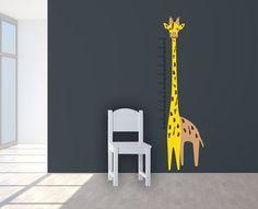 Wall Decal YELLOW GIRAFFE  measure for by LoonyBinWorkshop on Etsy
