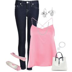 A fashion look from April 2014 featuring party shirts, skinny jeggings y pink shoes. Browse and shop related looks.