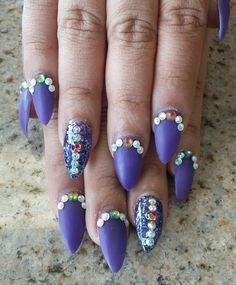 Purple matte stilleto nails