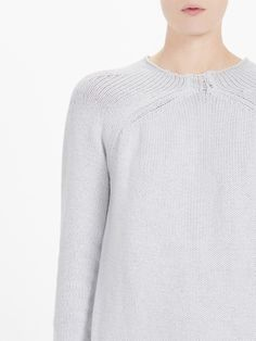 cotton linen raised neck knit