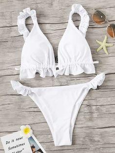 0077f4506a Frill Top With Tanga Bottom Bikini Set   Nice Bikinis, Summer Bikinis,  String Bikinis