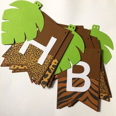 Happy Birthday banner, Safari or Jungle party theme. Photo Prop, Green leaf shapes Happy Birthday banner Safari or Jungle party theme bunting Jungle Theme Parties, Jungle Theme Birthday, Diy Birthday Banner, Jungle Party, Dinosaur Birthday Party, Safari Theme, 1st Boy Birthday, Happy Birthday Banners, 1st Birthday Parties